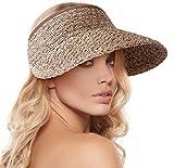 Women's Wide Brim Sun Hat Roll-up Foldable Straw Beach Visor Cap Hat, Coffee Mix