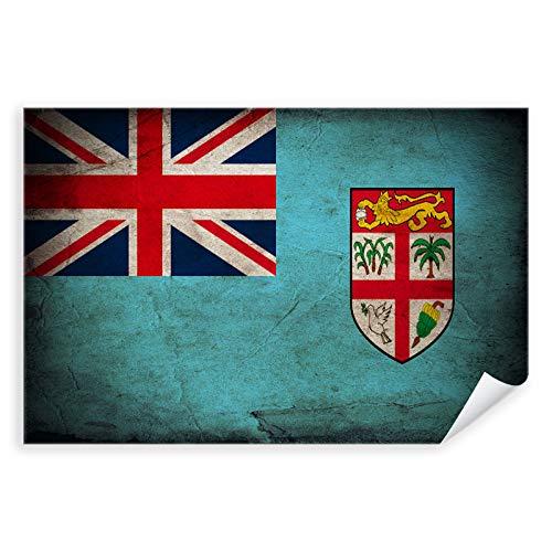 Postereck - 0379 - Vintage Flagge, Fahne Fidschi SUVA - Unterricht Klassenzimmer Schule Wandposter Fotoposter Bilder Wandbild Wandbilder - Leinwand - 100,0 cm x 75,0 cm