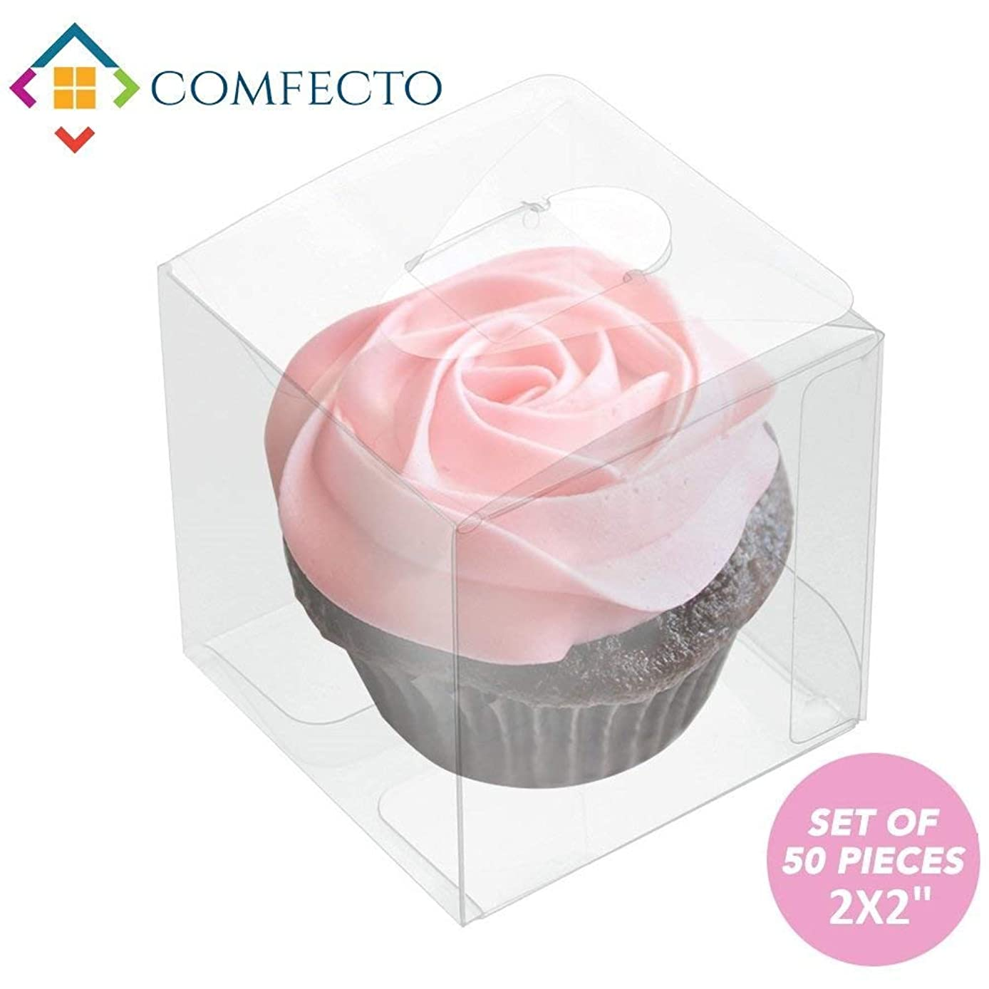 COMFECTO 50 Pcs 2x2x2 inch Clear Crystal Plastic Tuck Top PVC Boxes, Excellent for Cupcake Chocolate Wedding Favor Party Gift Display, Effortless Assembly Easy to Fold Boxes with Predefined Creases