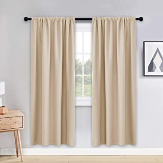 PONY DANCE Thermal Curtains 72 inches - Window Coverings Privacy Protect Rod Pocket Top Solid Color Room Darkening Curtain Home Decoration for Bedroom, 42 Wide by 72 inch Drop, Biscotti Beige, 2 PCs