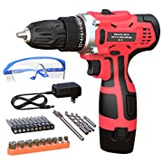 #LightningDeal GardenJoy Electric Power Drill Cordless: 12V Impact Drill Driver Set with 2 Variable Speed 3/8'' Keyless Chuck 24+1 Torque Setting 1 Battery Fast Charger Power Tool Kit for Home Improvement
