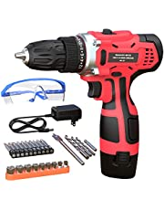 GardenJoy Electric Power Drill Cordless: 12V Impact Drill Driver Set with 2 Variable Speed 3/8'' Keyless Chuck 24+1 Torque Setting 1 Battery Fast Charger Power Tool Kit for Home Improvement