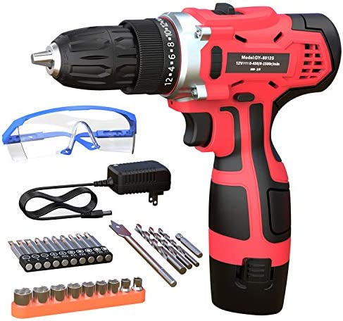 GardenJoy 12V Max Power Cordless Drill Electric Impact Driver Drill Kit with 2 Variable Speed product image