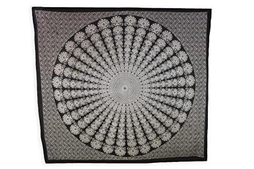 Mandala Bohemio, Ecológico de Playa, Piscina, Jardín 210x240. Mandala Tapiz Decorativo Grande y Resistente para Pared. (Espiral)