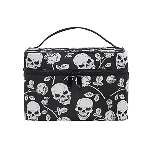 Makeup Bag, Skull with Rose Print Cosmetic Toiletry Storage Organiser Case Large Travel Handle Personalised Pouch with Compartments for Teenage Girls Women Lady Black White