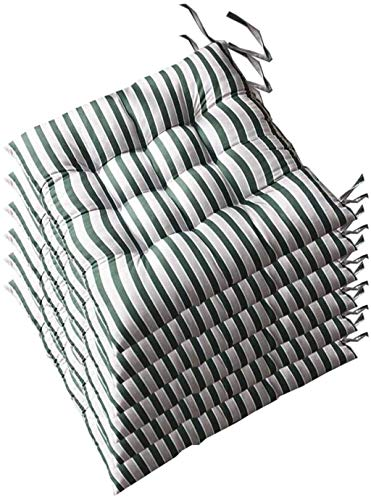 WHCQ Square Chair Cushions Set of 6, Dining Chair Pads Durable Fabric Seat Cushion with Ties, Chair Pads for Outdoor Furniture 16x16 in,Green