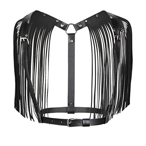YiZYiF Body Chest Harness da Donna Cintura per Imbracatura in Pelle Erotico Decorato con Nappa Frange Reggiseno Bralette a Corsetto Bretelle Regolabile Clubwear Nero Taglia Unica