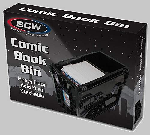 Heavy Duty, ácidos de plástico Apilar Hasta seis alta Incluye una partición de contenedor Comic de color negro Tamaño interior (WxHxL): 75/8x 111/4x 151/2 Dimensiones exteriores: (WxHxL): 83/4x 121/4x 161/2