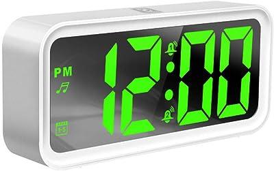 ZNHL Reloj Despertador Digital con LED, repetición de Silencio en la cabecera, Fecha y