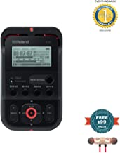Roland High-Resolution Handheld Audio Recorder Black (R-07-BK) includes Free Wireless Earbuds - Stereo Bluetooth In-ear and 1 Year Everything Music Extended Warranty
