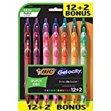 BIC Gelocity Quick Dry Retractable Fashion Gel Pen, Medium Point (0.7 mm), Assorted Colors, 14-Count