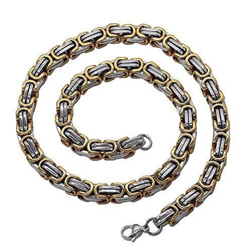 tumundo Panzerkette Halskette Königskette Gliederkette Silbern Golden Schwarz Flach Viereckig Armband Edelstahl Unisex, Größe:Ø 6mm - 60 cm, Modell:Königskette gold-silbern