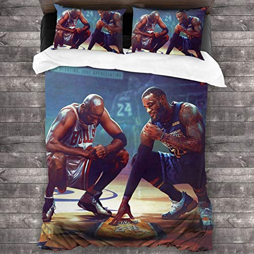WTUVCULU Kobe Lebron and Jordan Legend Classic Sports 3 Pieces Bedding Set Duvet Cover for Full Twin Size Bed Ultra Soft Breathable for Bedroom 2 Piece Pillow Cover and Duvet Cover