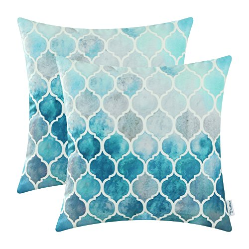CaliTime Cushion Covers 2 Pack 45cm x 45cm Main Grey Teal Manual Hand Painted Colorful Geometric Trellis Chain Print Throw Pillow Cases