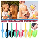 Hand Sanitizer Silicone Refillable Wristband Wearable Dispenser Portable Bracelet for Adult Kids (B,7PCs with Beak Bottle)