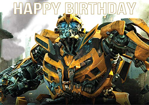 8.3 x 11.7 Inch Edible Square Cake Toppers – Transformers: Bumblebee Themed Birthday Party Collection of Edible Cake Decorations