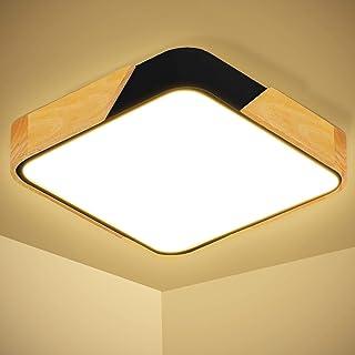 Kimjo 24W LED plafondlamp vierkant, 2400LM 3000K warm wit plafondlamp hout 30×30cm LED lamp hal plafond ultradunne 5cm pla...