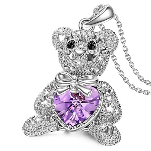 Teddy Bear Pendant On a Heart Necklace With Purple Gemstone