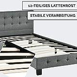 ArtLife Polsterbett Manresa 90 x 200 cm - Bett mit Lattenrost und Kopfteil - Zeitloses modernes Design, Grau - 5