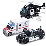 3Pcs City Hero Police Vehicle Toy Set, Friction-Powered Police Vehicles with Lights and Sounds Siren for Imaginative Play, Police Car, Police Helicopter, Ambulance