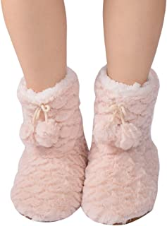 Slipper Socks with Grippers for Women,Winter Cozy&Comfy Boot Slippers for Women