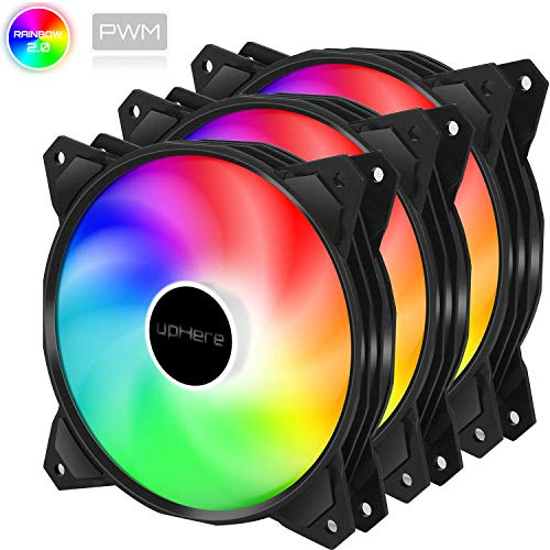 upHere 4-PIN PWM 120mm bunten-Rainbow LED Gehäuselüfter PC extrem Leise 3 Pack,(PF120CF4-3)