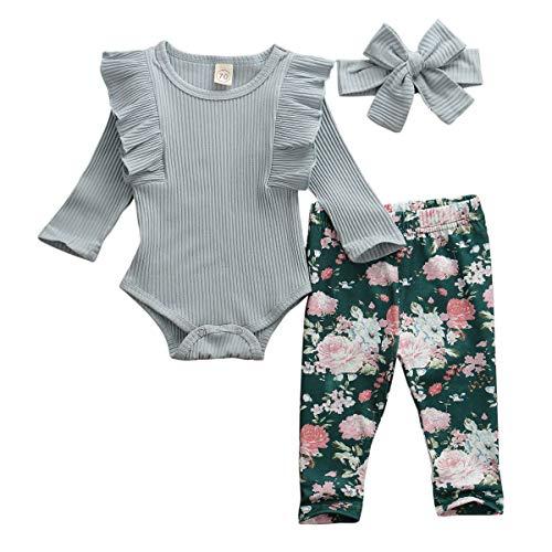 Geagodelia Babykleidung Set Baby Mädchen Langarm Body Strampler + Blumen Hose + Stirnband Neugeborene Kleinkinder Warme Babyset Kleidung T-38207 (0-6 Monate, Blau)