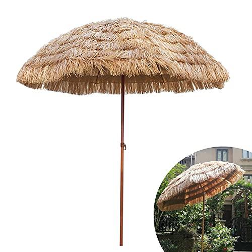 LIUD Hawaii Sombrilla De Jardín 180cm Sombrillas Terraza Bar Redonda Sombrilla De Playa Grande Inclinación Parasol De Paja/Altura Ajustable/Impermeable/Protección UV /8 Costillas