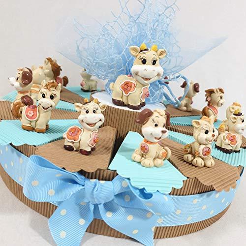 Bomboniere animaletti misti a torta portaconfetti per battesimo nascita comunione (14 fette, (A) senza confetti)