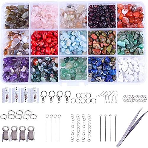 750 Unids Natural Fichas De Forma Irregular Beads De Piedra 15 Color Caído De Piedras Preciosas De Piedras Preciosas Cuentas De Cristal Para La Joyería Fabricación De Bricolaje