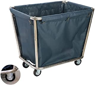 JCY Laundry Basket, Laundry Cart, On Wheels, Hospital Clinic Housekeeping Cleaning Utility Vehicle (with Removable Bag) (Color : Blue)