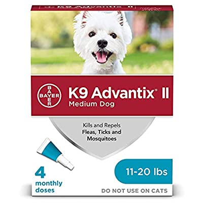 Bayer K9 Advantix II Flea, Tick and Mosquito Prevention for Medium Dogs, 11 - 20 lb, 4 doses from Bayer