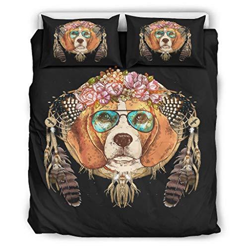 Haythan Juego de cama Dreamcatcher con diseño de perro de flores de 3 piezas, ropa de cama para dormitorio, ultrasuave, color blanco, 168 x 229 cm