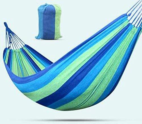 Camping hangmat Canvas Hangmat Outdoor Enkel Dubbel Camping Leisure Swing Travel comfortabel en ademend (Color : Blue, Size : 180 * 80cm)