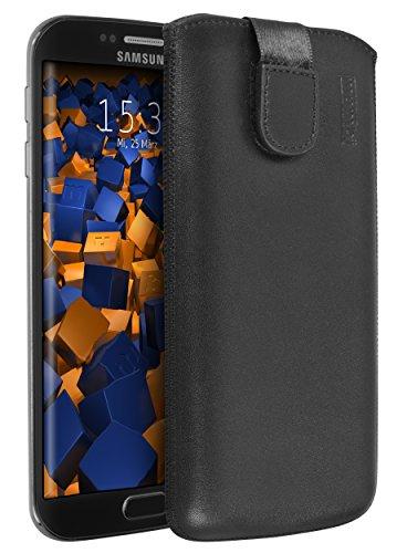 mumbi ECHT Ledertasche Samsung Galaxy S6 Edge Tasche Leder Etui (Lasche mit Rückzugfunktion Ausziehhilfe)