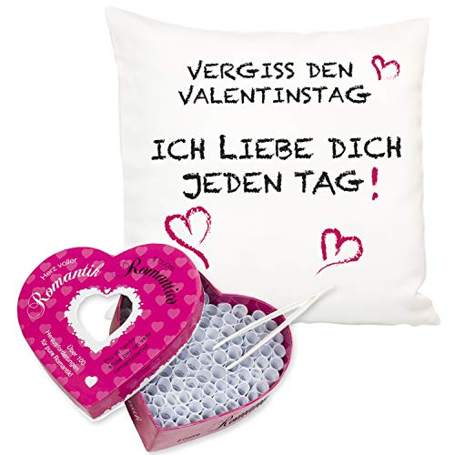 Kissen + Losbox - Vergiss den Valentinstag (ohne Name, Romantik): Geschenkset aus Kuschelkissen und Liebesbox für Romantik, Erotik oder Kamasutra, individuelle Personalisierung mit Name
