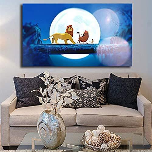XQWZM Der König der Löwen Tapete Leinwand Poster, Wandkunst Malerei Dekorative Bild, Für Moderne Dekoration Zubehör 50 * 90 cm Ohne Rahmen