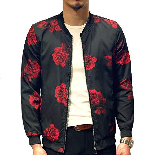 Mens Casual Lightweight Jacket Printed pattern Slim Fit Bomber Jacket Varsity Coat