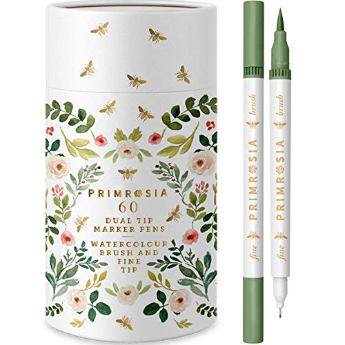 Primrosia 60 Dual Tip Marker Pens, Fineliner and Watercolor Brush Pens for Art Sketching Illustration Calligraphy Permanent Highlighter Bullet Journal Drawing Coloring