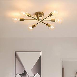 ASCELINA Sputnik Lustre Plafonnier moderne, 10 Lumières Plafonnier Or Lustre Mid Century Lampe Vintage Metal Lumière pour ...