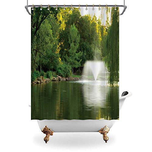 ALUONI Park Water Fountain Shower Curtain Waterproof Polyester Fabric Shower Curtain with Hooks,173676 for Bathroom Decor,65 in x 71 in