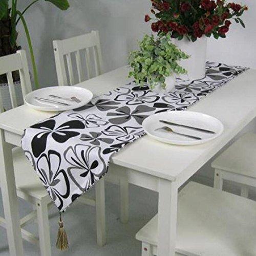 LDONGPENG LD&P Moderne Simple Polyester-Coton Table d'impression Coureur avec Tassel hôtel lit Drapeau café Divertissement Place décoration Table Coureur,Black,35 * 160cm