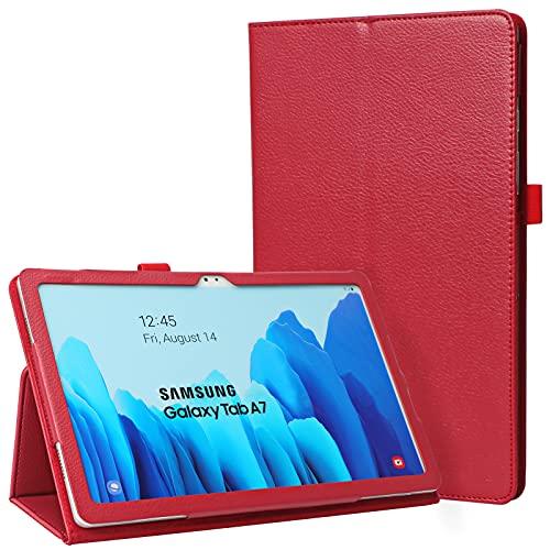 FYY - Funda para Galaxy Tab A7 10.4 2020, piel sintética de alta calidad con tarjetero, clip magnético para Samsung Galaxy Tab A7 10.4 SM-T500/T505, color rojo