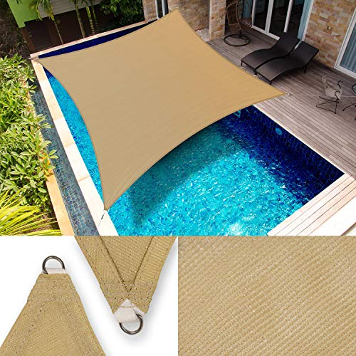 ShadeMart 12' x 20' Sand Beige Sun Shade Sail Rectangle SMTAPR1620 Canopy Fabric Cloth Screen, Water Permeable & UV Resistant, Heavy Duty, Carport Patio Outdoor - We Customize Size