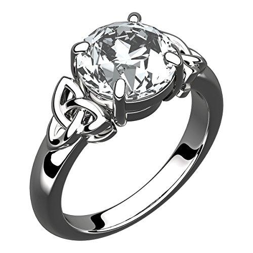 GWG Jewellery Anelli Donna Regalo Anello Argento Sterling Grande Pietra in CZ Bianco Diamante Affiancata da Nodi Celtici - 8 per Donne