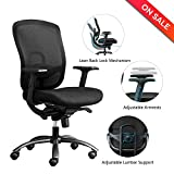 LONGEM Mid Back Mesh Office Chair - Adjustable Angle Recline Locking System ,Ergonomic Back Lumbar Support and PU Armrest Computer Desk Task Executive Chair
