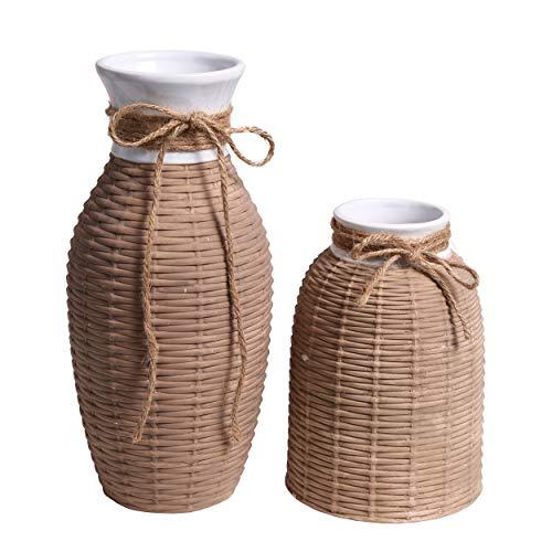 TERESA'S COLLECTIONS 2er Set Blumenvase 19/28 cm Braune Kleine Keramik Vase mit Webe Design Hanfseilvase für Wohnzimmer, Büro und Hochzeit oder als Geschenk