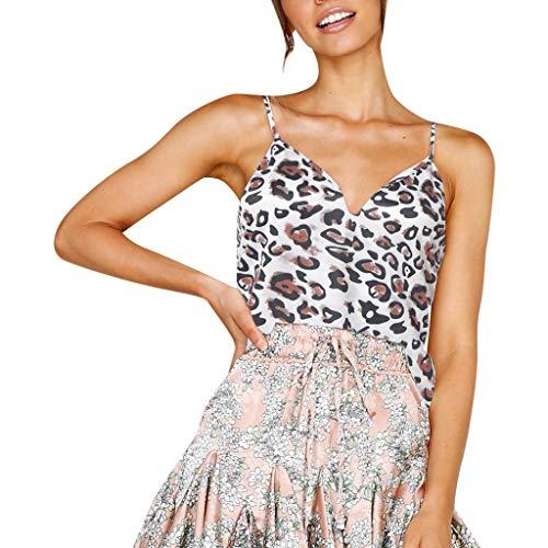 OSYARD Frauen Leopard Camisole Trägershirt Tanks Weste Vest Schlinge Tee Damen Crop Shirt mit V-Ausschnitt Spagehtti Träger Oberteil Tops