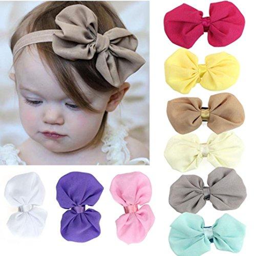 Qinlee Lot de 9Pcs Bandeau Bébé Imprimé, Bande de Cheveux pour Les Enfants, Bandeau bébé Bandeaux Elastiques avec Nœud à Deux Boucles Papillon(9 Couleurs)