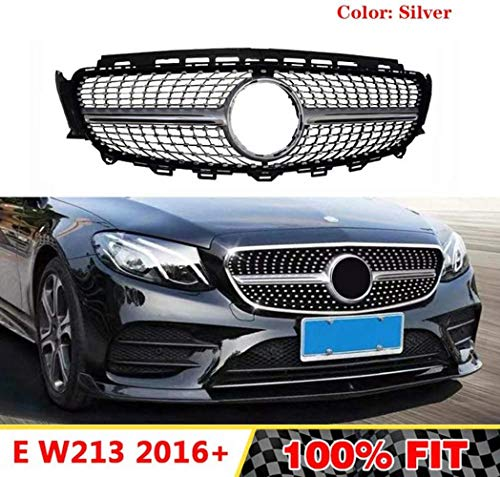 XKCCHW ABS-Diamantgrill passend für Mercedes Benz E-Klasse W213 E180 E200L E260 E300L 2016-2018 ohne Emblem, Silber silber